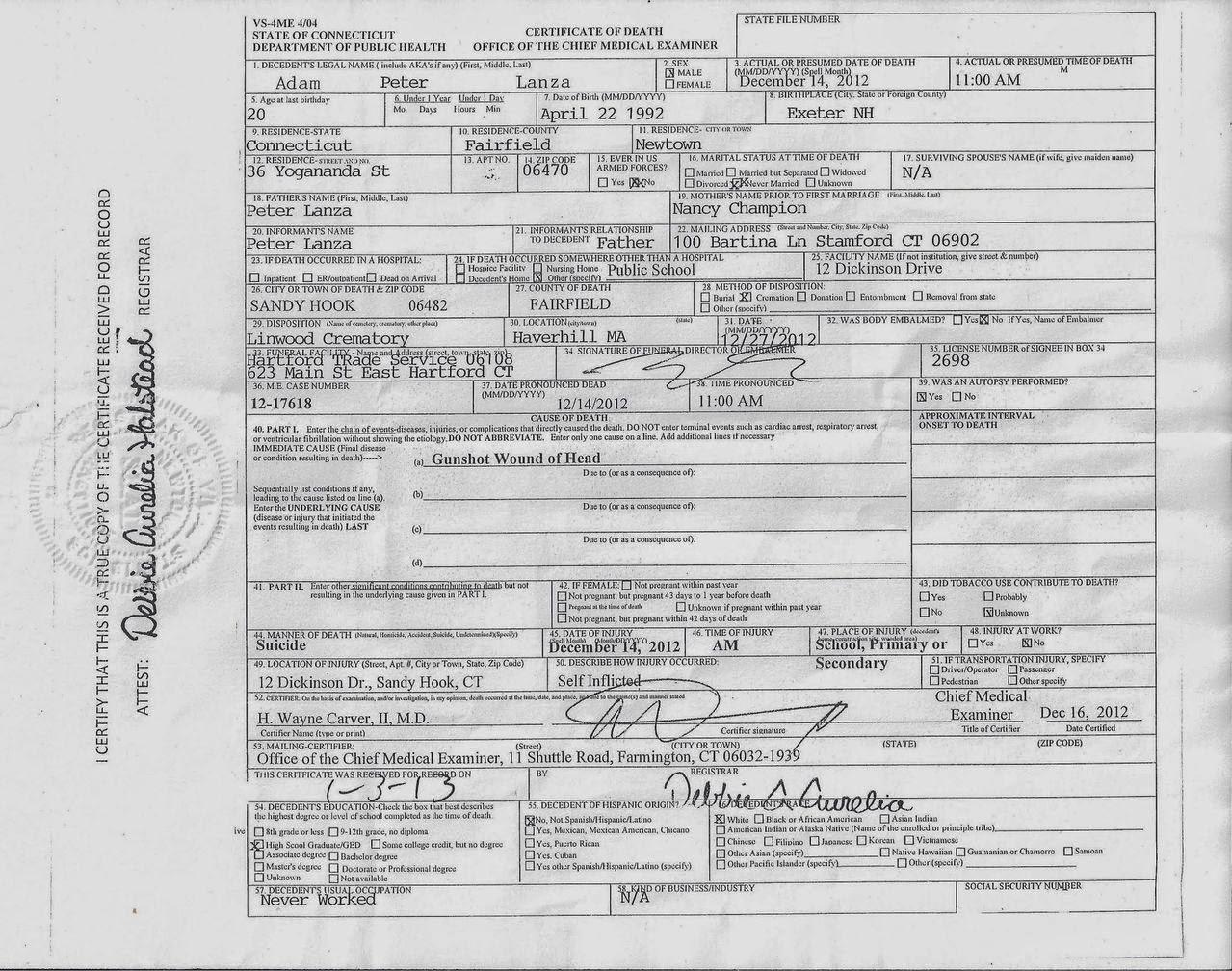 Sandy Hook- Facts & Research: Adam Lanza Death Certificate